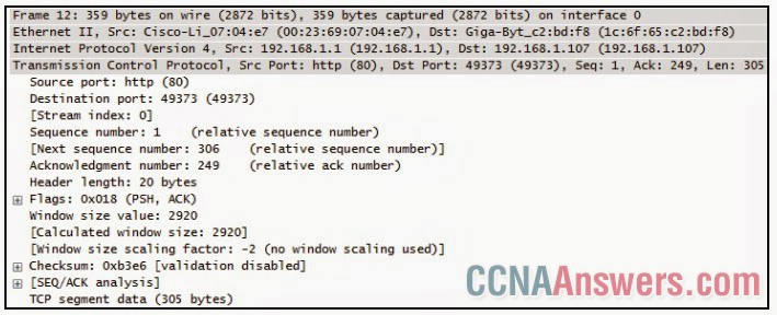 A TCP segment from a server has been captured by Wireshark