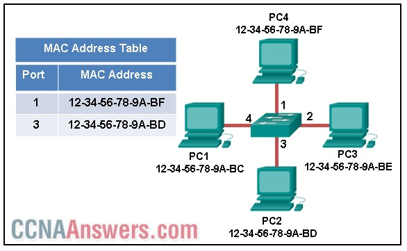 The exhibit shows a small switched network and the contents of the MAC address