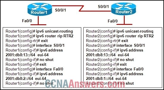 A network administrator has issued the commands that are shown on Router1 and Router2