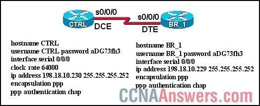 The link between the CTRL and BR_1 routers is configured as shown in the exhibit