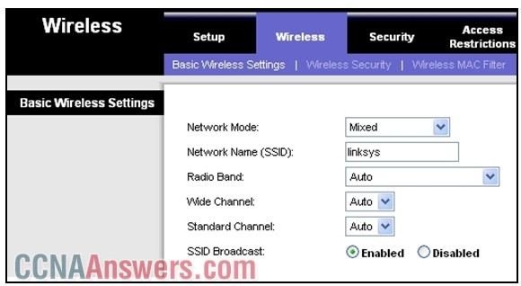 Which two settings could be changed to improve security on the wireless network