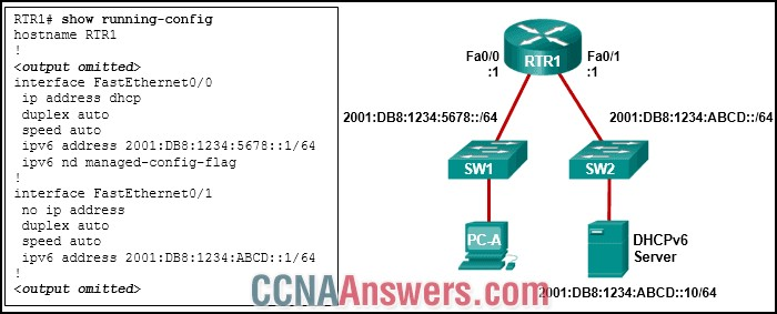 What should be done to allow PC-A to receive an IPv6 address from the DHCPv6 server?