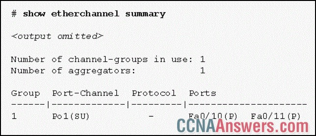 Based on the command output shown, what is the status of the EtherChannel?