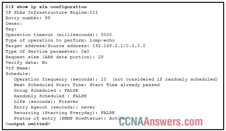 On the basis of the information presented, which two IP SLA related statements are true?