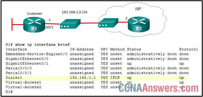 What is the network administrator verifying when issuing the show ip interface brief command on R1 in respect to the PPPoE connection to R2?