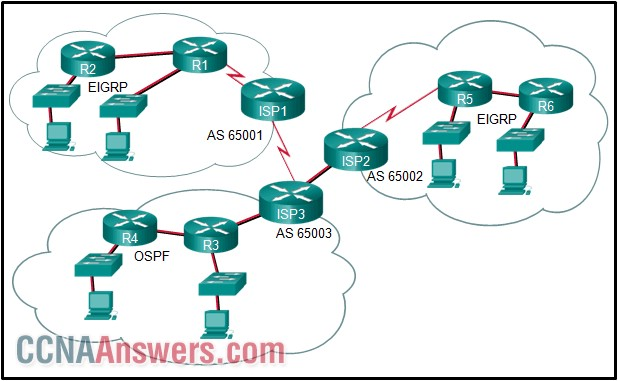What is used to exchange routing information between routers within each AS?