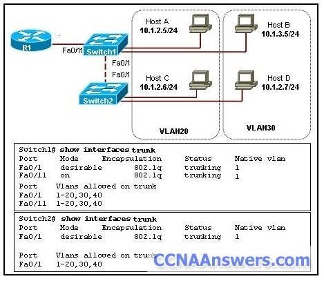Hosts B and D are configured with IP addresses from different subnets thumb CCNA 3 Final Exam Answers 2012
