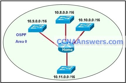 Which network statement configures the home router to allow all the interfaces to participate in OSPF