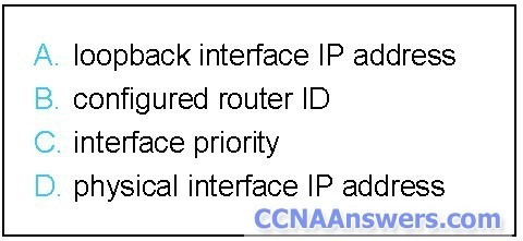 In what sequence (from first to last) does an OSPF router check the parameters listed when selecting the DR
